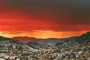 Sunset Mountains Landscape in Norway