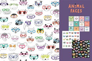 Animal Faces In Trendy Glasses