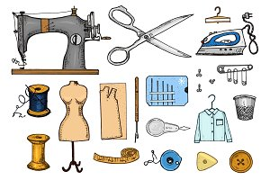 Set of sewing tools and materials or elements for needlework. Handmade equipment. Tailor shop for labels, badgess. thread and needle, mannequin. engraved hand drawn realistic in old vintage sketch.