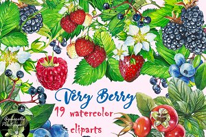 Very Berry set 19 watercolor clipart