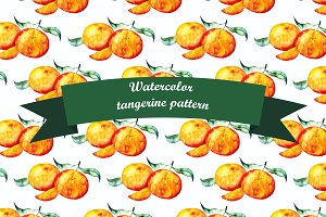 Tangerine watercolor pattern