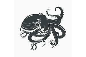 Octopus mascot or sea, ocean monster tattoo