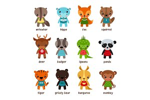 Set of isolated cartoon baby animals