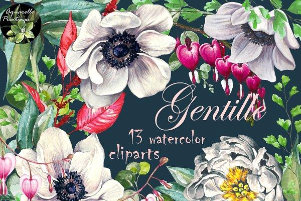 Gentille set 13 watercolor clipart