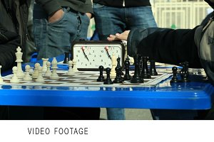 Chess tournament outdoors.