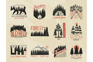 camp logo, mountains coniferous forest badges. engraved hand drawn in old vintage sketch. outdoor adventure landscapes with pine trees and hills. emblem tent tourist, travel for labels.