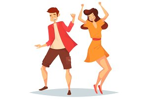 Man and woman, girl and boy dancing at disco