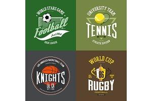 Tennis racket, soccer, basketball ball, rugby cup
