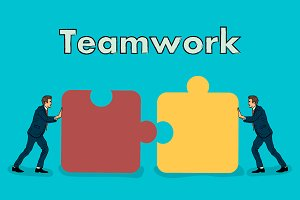 Teamwork.businessmens connect puzzle