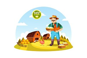 Cartoon farmer man holding eggs and hen