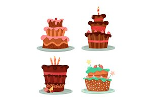 Cakes with strawberry and cherry, candle and stars