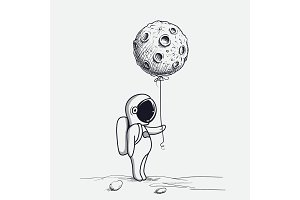 Funny astronaut keeps abstract balloon like a moon