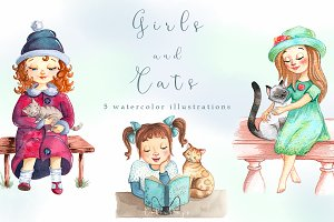 Watercolor Girls and Cats