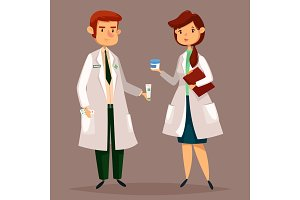 Pharmacist and woman druggist with pills, tablets