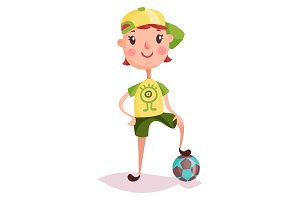Little boy or kid, child or schoolboy, soccer ball