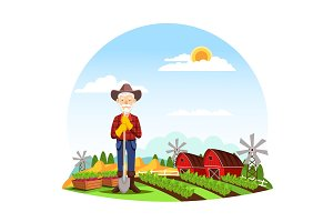 Man or grandfather farmer at farm
