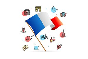 France Travel Design Concept  Flag