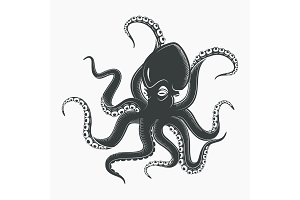 Octopus tattoo or squid marine mascot