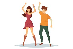 Man and woman dancing on dance floor at disco