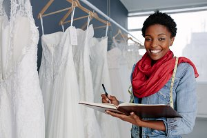 Wedding dress designer working