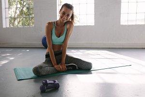 Woman taking break after workout