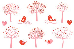 Cute love tree and birds clipart set