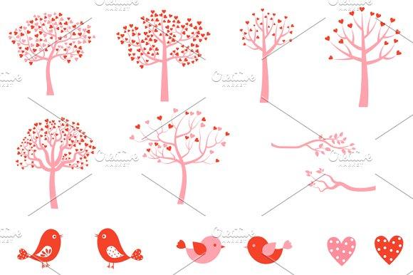 Cute Love Tree And Birds Clipart Set Illustrations Creative Market
