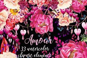 Amour set 33 elements clipart