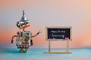 Machine learning concept. Robot creative design toy metal funnel hopper, cogs wheels gears metallic body. Black chalkboard classroom interior, futuristic colors background