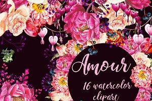 Amour 16 bouquets clipart designs