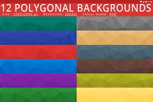 12 High Res Polygonal Backgrounds