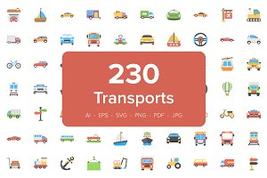 230 Transport Flat Vector Icons Set