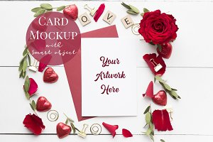 Card Mockup - red roses
