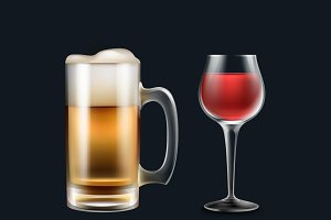 Glass of beer and wine