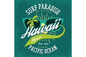 T-shirt print as hawaii banner, palms, sunglasses