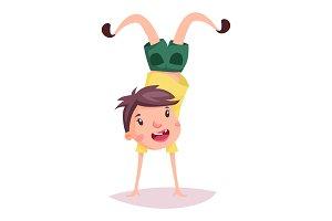 Child or kid, cartoon schoolboy doing handstand