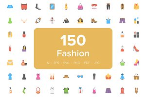 150 Fashion Flat Vector Icons