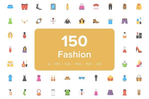 150 Fashion Flat Vector Icons