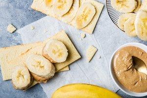 Banana Slices, Cashew Butter and Gluten Free Crispbreads