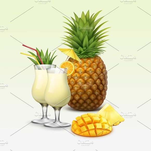 Tropical cocktails and fruits