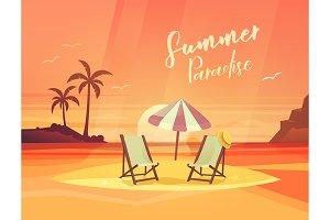 Sand coast or beach with deck chair and umbrella