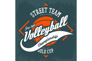 Sportswear volleyball sign, t-shirt print design