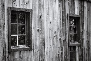Old wooden window with spider web