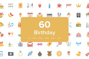 Flat Birthday Icons