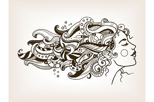 Woman with art hair engraving vector illustration
