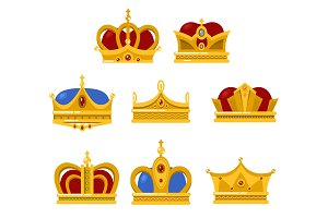 Shining crowns and tiara isolated icons