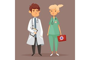 Man doctor and woman nurse, Medicine workers