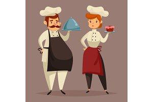 Cook chef in uniform, woman with plate in hand
