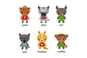 Kangaroo and wolf, bat and monkey, zebra and ape