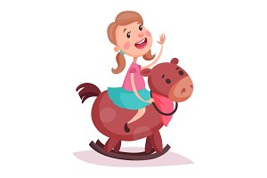 Cartoon little girl in skirt riding rocking horse